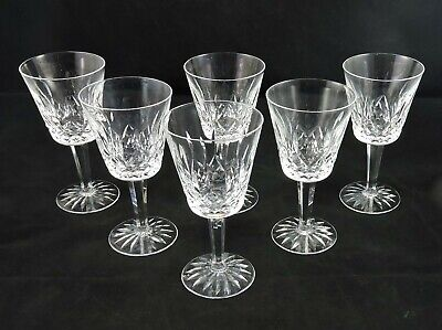 """Set of 6 WATERFORD Lismore Water Goblets 6 7/8"""" ~ Mint ~ Signed"""