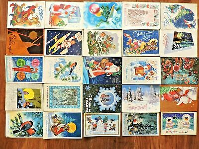 Lot #2 vintage postcards Soviet Russia 25 PCs New Year USSR Posted