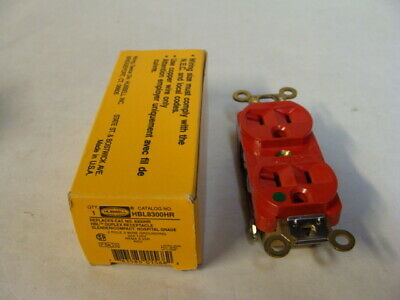 1 New HUBBELL 8300R RECEPTACLE NEMA 5-20R 2 POLE 3 WIRE 20A 125V RED Free Ship