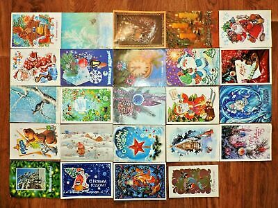 Lot #10 vintage postcards Soviet Russia 24 PCs New Year USSR Posted