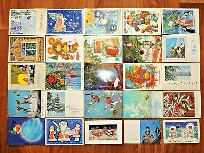 Lot #9 vintage postcards Soviet Russia 25 PCs New Year USSR Posted