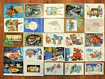 Lot #5 vintage postcards Soviet Russia 25 PCs New Year USSR Posted
