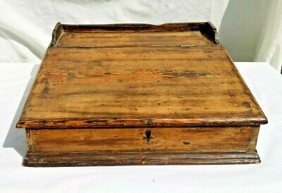 Antique Pine Writing Slope Stationary Box, 34 X 32, 12.5 Cm High.