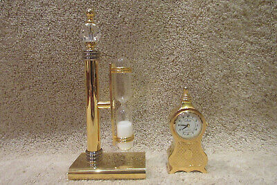 Miniature Collezio Mantle Shelf Table Clock + Matching Hour Glass -SEE PICS!