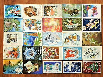 Lot #6 vintage postcards Soviet Russia 25 PCs New Year USSR Posted