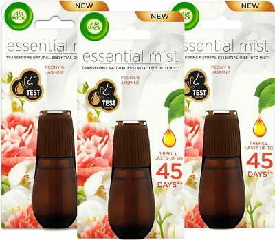Pack of 3 Air Wick Essential Mist Oil Peony and Jasmine Refills, 60ml