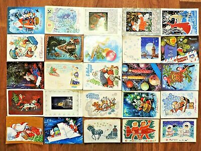 Lot #4 vintage postcards Soviet Russia 25 PCs New Year USSR Posted