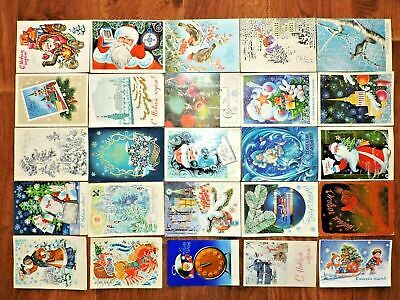 Lot #7 vintage postcards Soviet Russia 25 PCs New Year USSR Posted