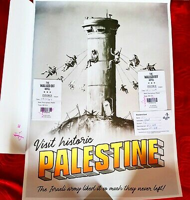 LOT OF 10 Banksy Walled Off Hotel Palestine Poster With Receipts
