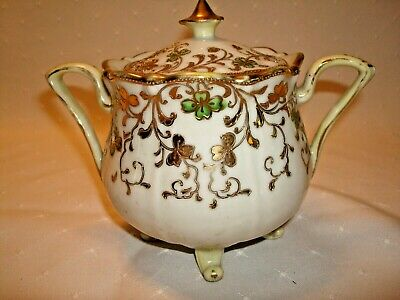 Antique Nippon Moriage Footed Covered Sugar Bowl & Lid