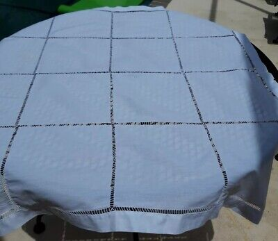 """Vintage Table Cloth /Cotton White With A Geometrical Stitching Pattern. 32""""X32"""""""