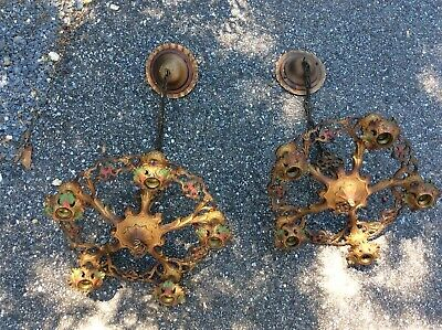 PR Vtg 5 Light Ceiling Fixture Chandelier Cast Iron Hanging Lamp Art Deco Nouvea