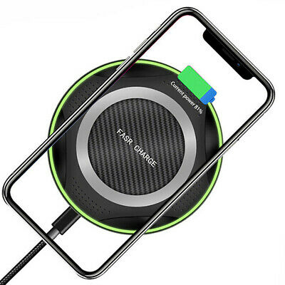 10W Qi Fast Wireless Charger Charging Pad For iPhone X XS Samsung S9 S10 S8 S7