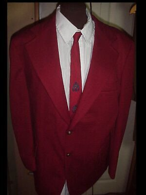 Vintage 70s SHOW Mens Ugly RED 42 Polyester Disco SUIT JACKET BLAZER W/ NECK TIE