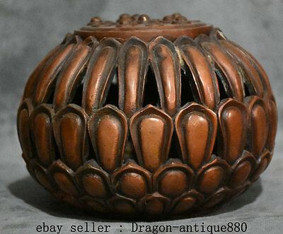 """6"""" Marked Old Chinese Red Bronze Copper lotus Seed Hollow Out Statue Pot Censer"""