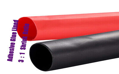 """2×12FT 3/8""""Dual Wall with Adhesive 3:1 Heat Shrink Tubing assortment (black+red)"""