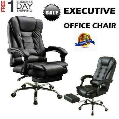 Executive Gaming Chair Leather Ergonomic Seat High Back Recliner Office Computer