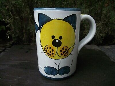 Hand Crafted & Painted Pussy Cat Kitten Portuguese Art Pottery Mug Signed