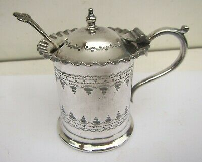 Old Victorian Silver Plated Decorative Mustard Pot