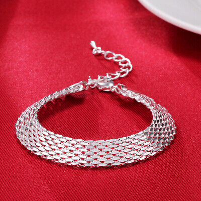 gorgeous 925 solid Silver fashion women lady mesh chain wedding bracelet Jewelry