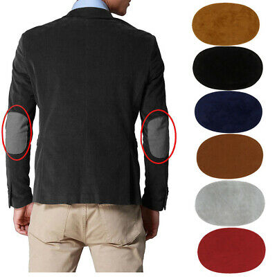 1 Pair Suede Fabric Patch Iron-on Elbow Knee Patches Oval Repair Applique Badge
