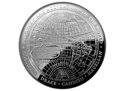 5 $ Dollar Terrestrial Dome 1626 - New Map World  Australien 1 oz Silber PP 2019