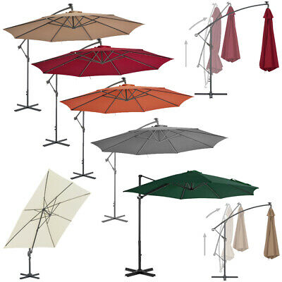 Large Garden Cantilever Parasol With Crank For Patio Shade Hanging Umbrella New