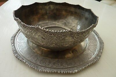 Superb Persian Antique Hand Chased Solid Silver 84 Bowl & Plate 1.08kg