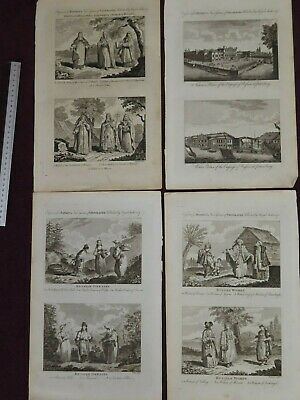 1795 EIGHT PLATES showing RUSSIAN DRESS and ST PETERSBURG RUSSIA MOSCOW LIVONIA