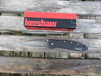 KERSHAW LEEK LINERLOCK KNIFE SPEED ASSISTED DAMASCUS BLADE w/BOX UNUSED USA