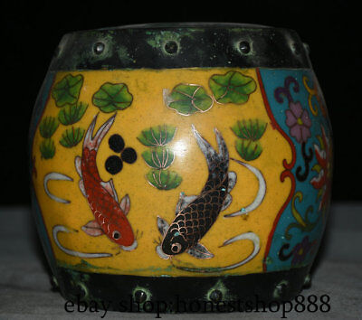 """6"""" Qianlong Marked Old Chinese Palace Cloisonne Bronze lotus leaf Fish Censer"""
