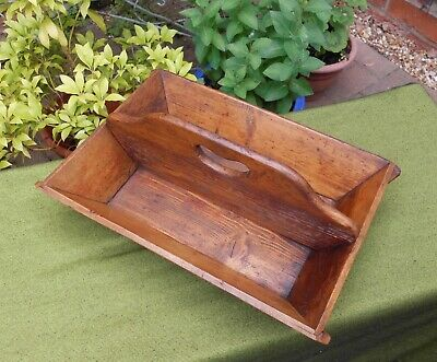 Lovely Victorian Pine Two Section Cutlery Tray Wih Handle~Trug~Garden~Kitchen