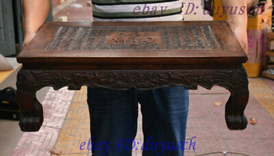 "26"" Old Chinese Huanghuali wood carved Wealth Fu Statue drawer coffee table Desk"