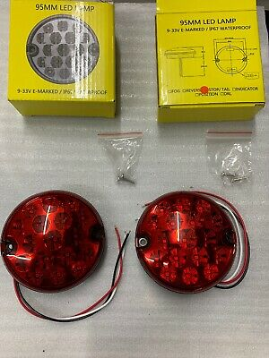 1x Pair 95mm Round LED Stop / Tail Lights for Kitcar IP67 - Free Postage