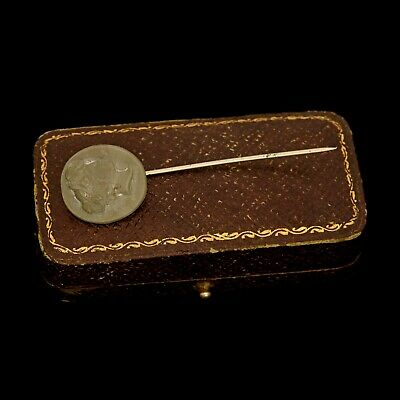 Antique Vintage Nouveau 14k Gold Filled GF Etruscan Lava Cameo Stick Pin Brooch