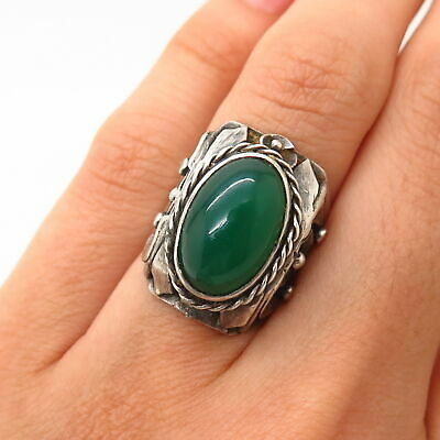 925 Sterling Silver Antique Real Chalcedony Gemstone Floral Design Ring Size 4.5