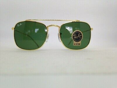 8763dc1be65 Ray-Ban RB3557 Square Sunglasses Green Lens/Gold Frame 54mm Small/Medium