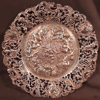 """Magnificent Continental Repousse' Reticulated Plate Many Putto 9 1/4""""  312G."""