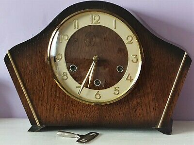 Vintage Smiths/Enfield Oak Case Mantel Clock WESTMINSTER CHIMES EXCELLENT