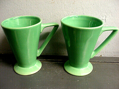 Vintage Set 2 Art Deco Style Pottery Drink Mugs 6 Ounces Green Glazing