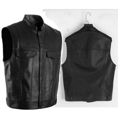 Men's Leather Vest Motorcycle Biker Waistcoat Outwear Jacket Sleeveless Casual