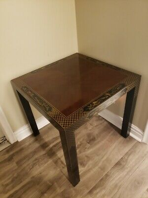 Vintage Drexel Heritage Et Cetera Chinoiserie Lacquer End Side Squared Table