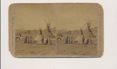 1870's William Henry Jackson Stereoview War Chiefs Tent Native American Document