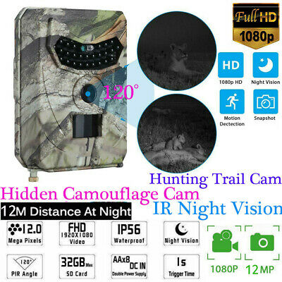 18MP HD 1080P Hunting Trail Camera Video Wildlife Scouting IR Night Vision Cam