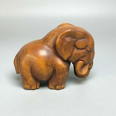 Japanese Netsuke Old Vintage Boxwood Collectible Wealth Elephant Ornament Statue