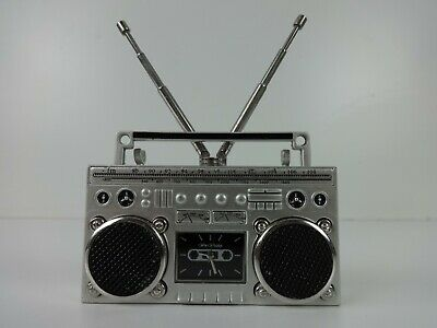 BoomBox Clock Miniature WM Widdop Silver Metal Analogue Vintage Music Boom Box