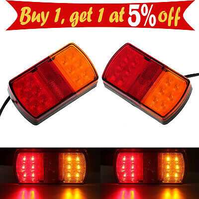 Pair 12LED Tail Light Lamp Brake Turn Signal Ute Indicator 12/24V Trailer Truck
