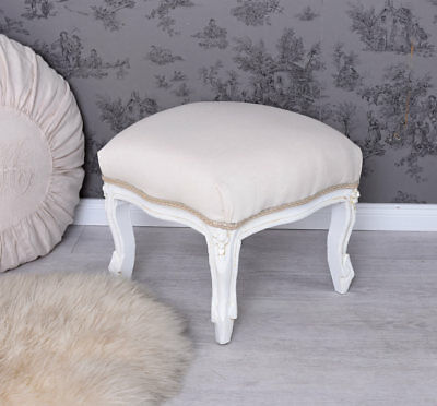 Foot Stool Shabby Chic Stool White Footrest Ottoman Rococo Bench