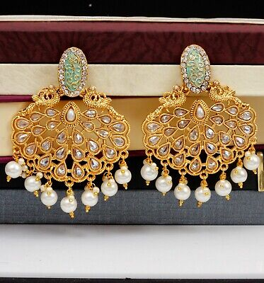 Fashion Indian Gold Plated Big Tops White Earrings Wedding Traditional Jewelry