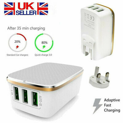 3 Multi-Port Fast Quick Charge QC 3.0 USB Hub Wall Charger Adapter 3 Pin Plug UK